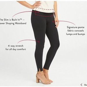 NWOT Spanx Black Ponte Leggings Ankle Slit